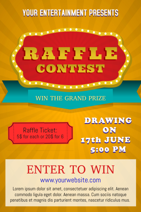 yellow raffle poster template