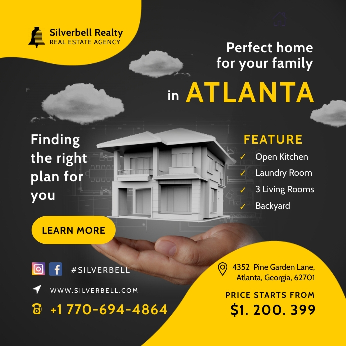 Yellow Real Estate Open House Advert Instagram Post template