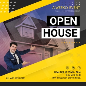 Yellow Real Estate Open House Instagram Ad template