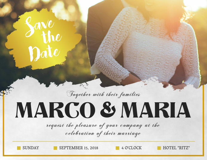Yellow Save the Date Custom Post Card Template