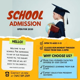 Yellow School Admission Square Video template