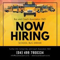 Yellow School Bus Driver Hiring Instagram Pos template