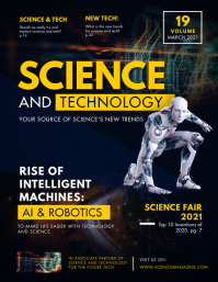 Yellow Science and Robots Magazine Cover Flye Flyer (format US Letter) template