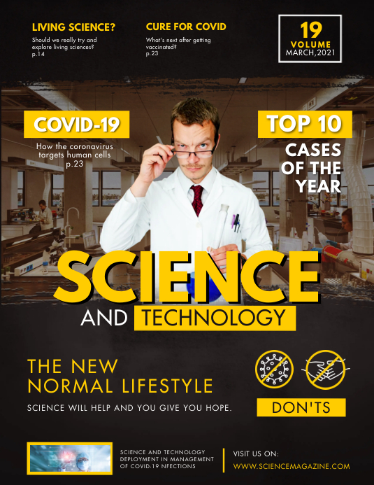 Yellow Science and Tech Magazine Cover Flyer Pamflet (Letter AS) template