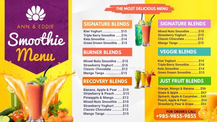 Yellow Smoothie Bar Menu Digital Display Temp template
