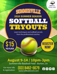 Yellow Softball Tryouts Flyer Template