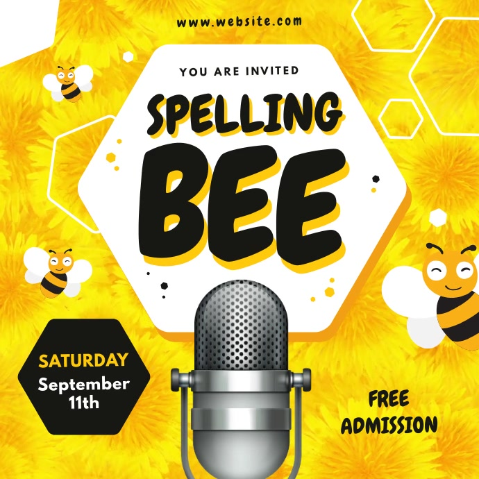 Yellow Spelling Bee Contest Square Video