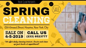 Yellow Spring Cleaning Deal Banner Digitale Vertoning (16:9) template