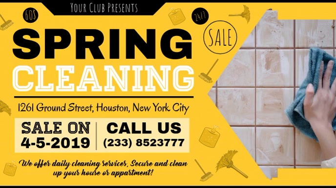 Yellow Spring Cleaning Deal Banner Digitalt display (16:9) template
