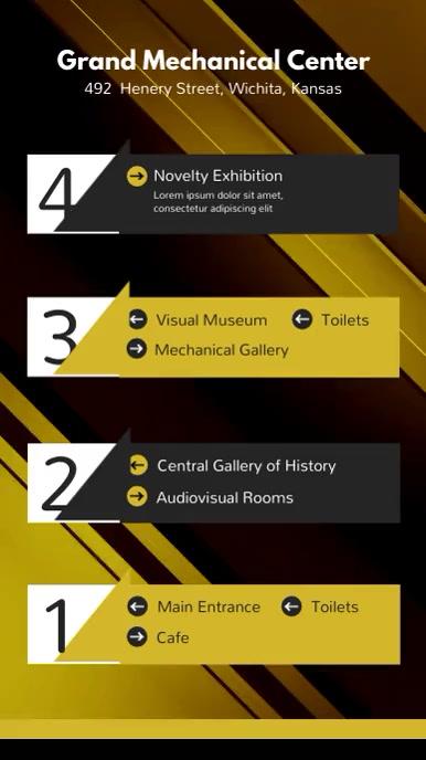 Yellow Studio Museum Directory Display Board