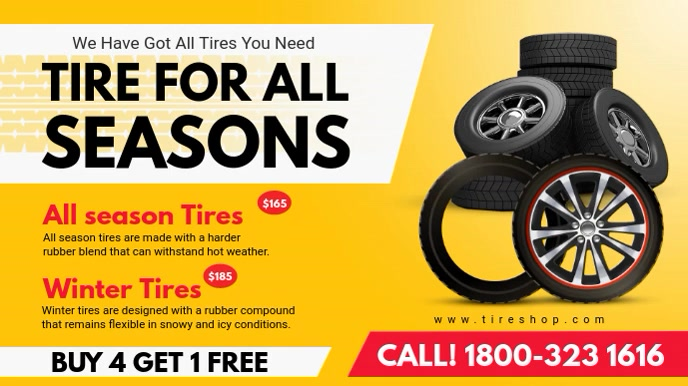Yellow Tire Center Digital Display Video Digitalanzeige (16:9) template