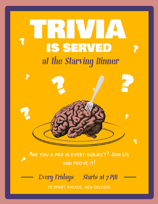 Yellow Trivia Night Flyer Template PosterMyWall