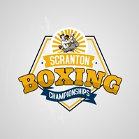 Yellow Vintage Boxing Club Logo Template