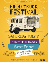 Yellow Vintage Food Truck Festival Flyer Temp template