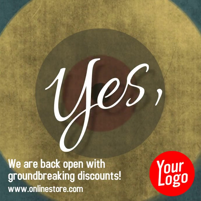 Yes we are open retail business reopen video Instagram-opslag template