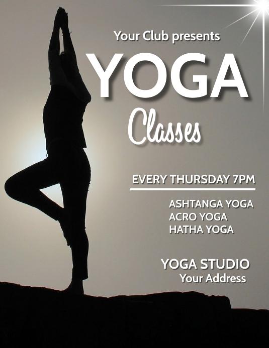 Yoga,event,health fitness Folheto (US Letter) template