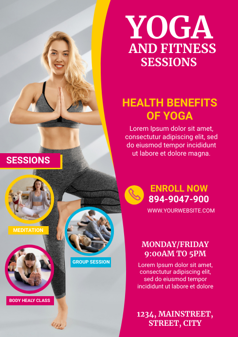 yoga and fitness A4 template