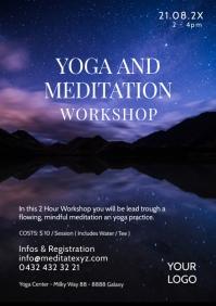 Yoga and Meditation Workshop Seminar Spirit A4 template