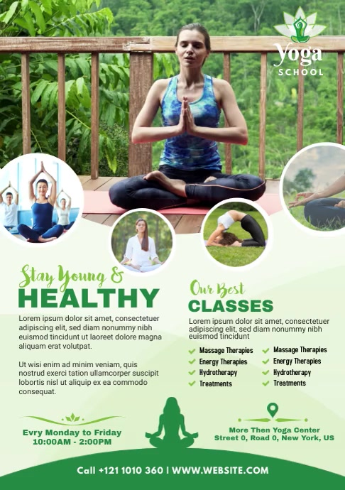 Yoga classes A4 template