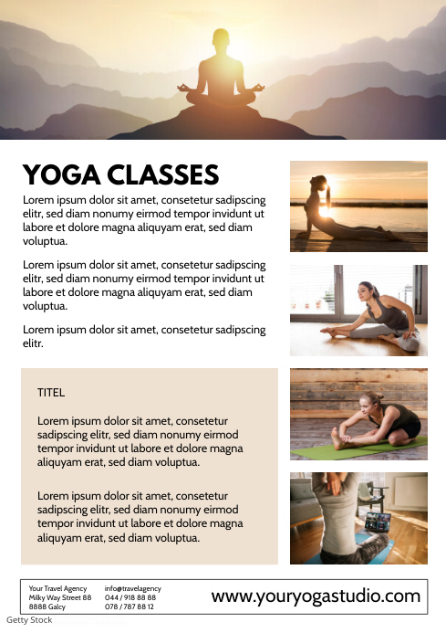 Yoga Classes Flyer Promotion Lesson Course ad A4 template