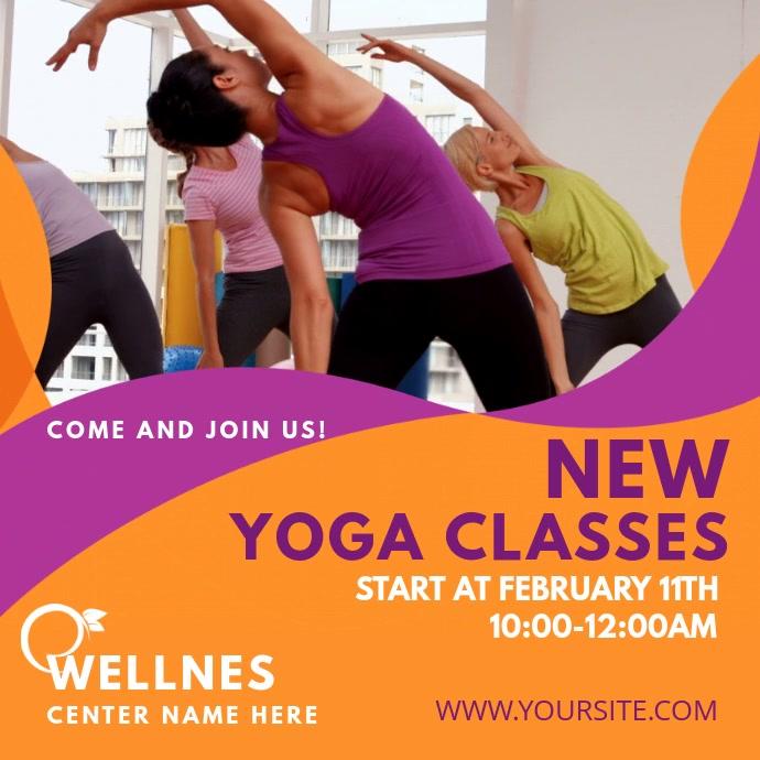 Yoga Classes Instagram video template Persegi (1:1)