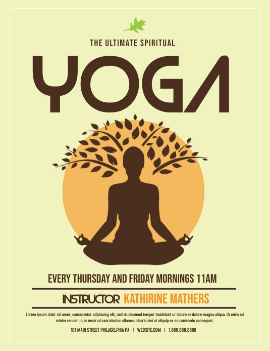 Yoga Folheto (US Letter) template