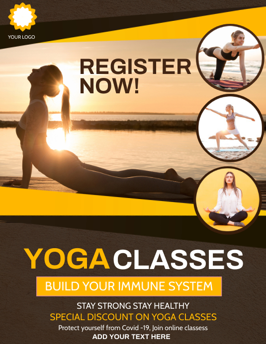 Yoga flyers,Fitness flyers,Online yoga flyers Folheto (US Letter) template