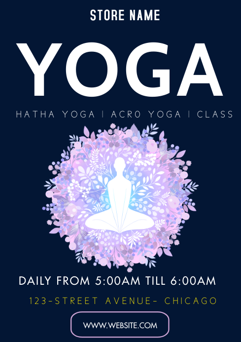 Yoga flyers A3 template