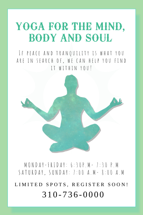 YOGA MEDITATION CLASS POSTER TEMPLATE | PosterMyWall