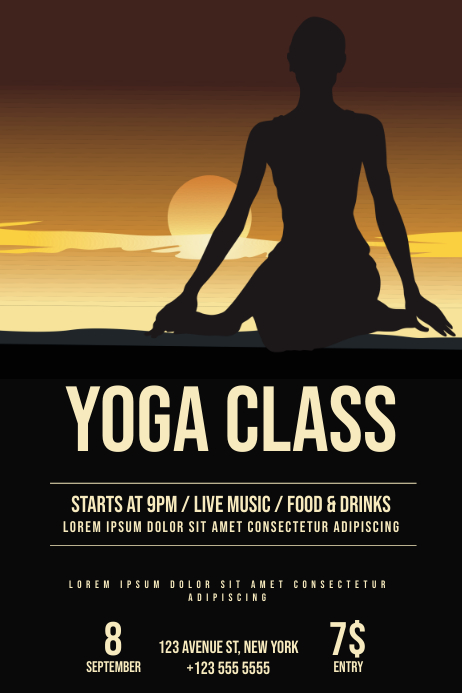 Yoga meditation workshop event flyer template