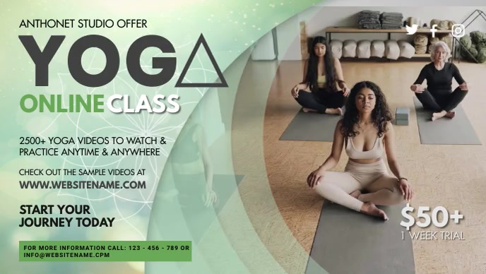 Yoga Online Class Banner Video Sampul Facebook (16:9) template