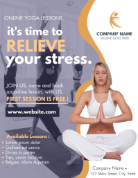 yoga online classes / lessons flyer advertise template