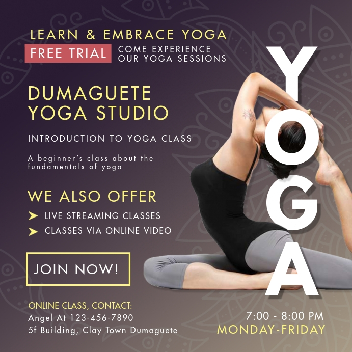 Yoga Online Livestream And Classes Template Postermywall