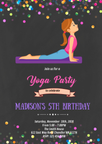 Yoga party theme invitation A6 template