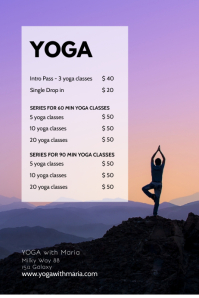 Yoga Studio Price List Classes Flyer Workshop