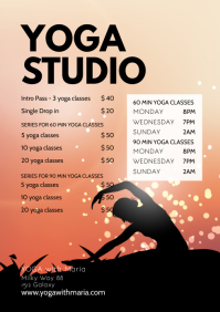 Yoga Studio Timeline Price List Classes Flyer