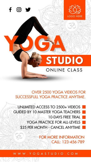 Yoga Studio workshop Instagram Story template