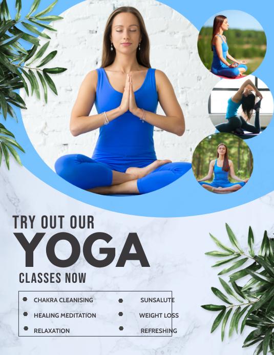 Yoga templates,meditation,fitness Folheto (US Letter)
