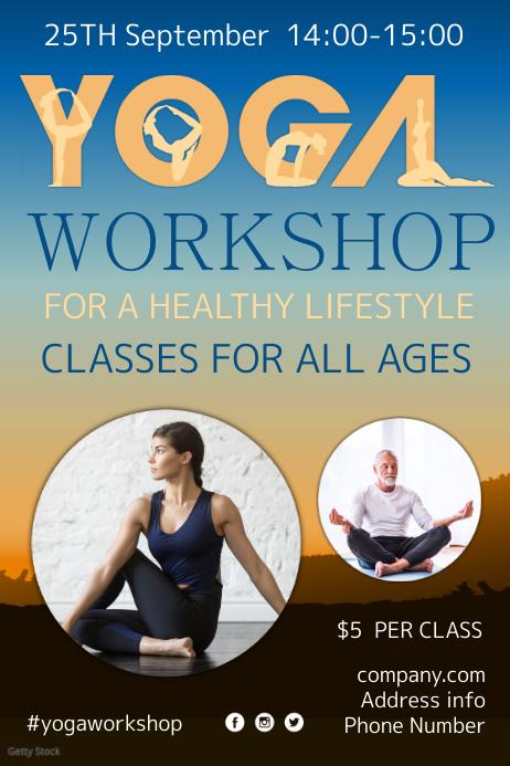 Yoga Workshop Flyer Póster template