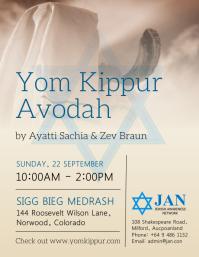 Yom Kippur Avodah Worship flyer template