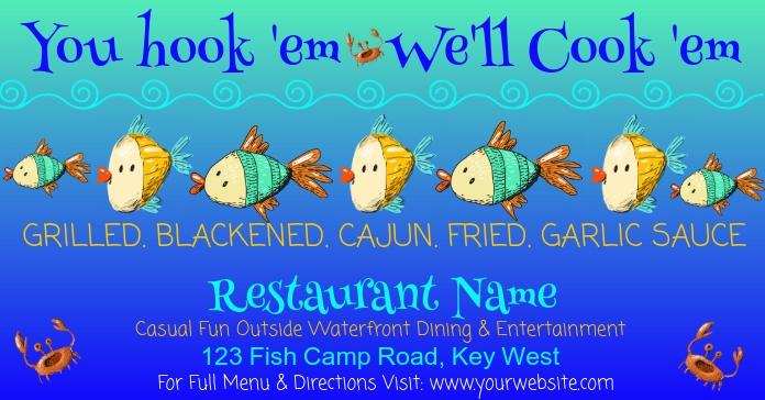 You hook'em We'll Cook 'em Facebook Advertensie template