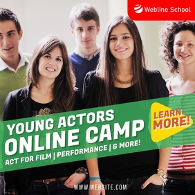 Young actors Online Camp Zoom Learning post โพสต์บน Instagram template
