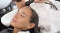 young lady hair wash. feel better Foto Sampul Saluran YouTube template