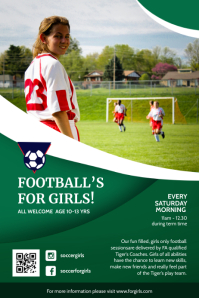 Young Women's Soccer Football Poster template