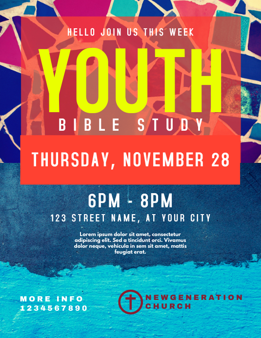 Youth Bible Study Рекламная листовка (US Letter) template
