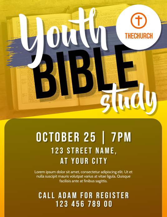Youth Bible Study Folheto (US Letter) template