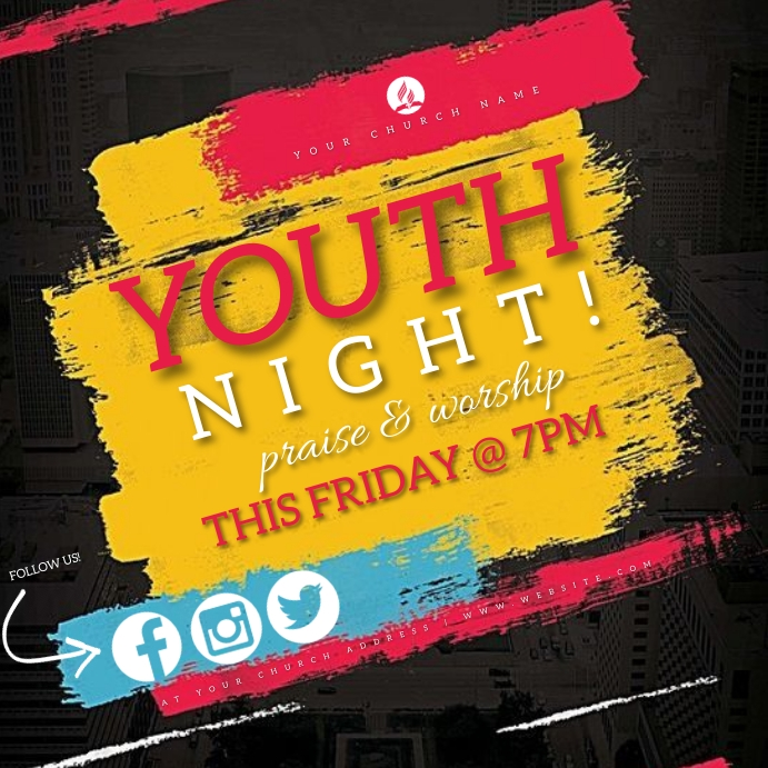 YOUTH Church ONLINE Event Flyer Template Cuadrado (1:1)