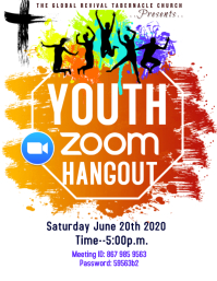 Youth Church Zoom Flyer ใบปลิว (US Letter) template
