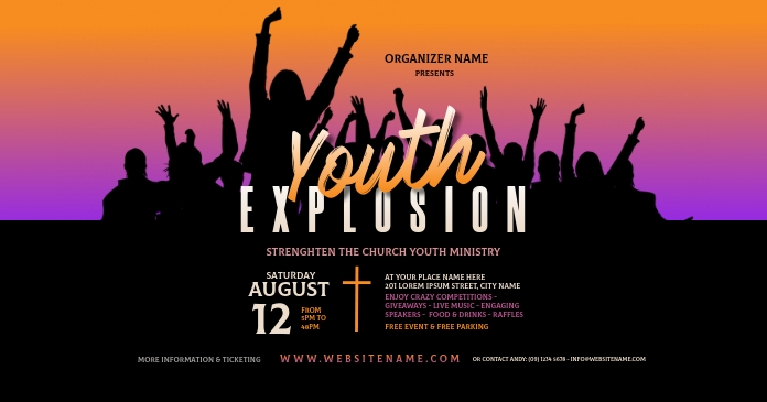 Youth Explosion Facebook Shared Image delt Facebook-billede template
