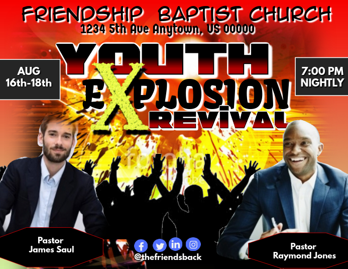 Youth Explosion Revival Pamflet (Letter AS) template